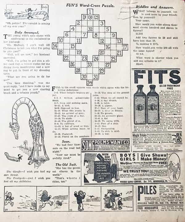 Puzzels - de eerste kruiswoordpuzzel