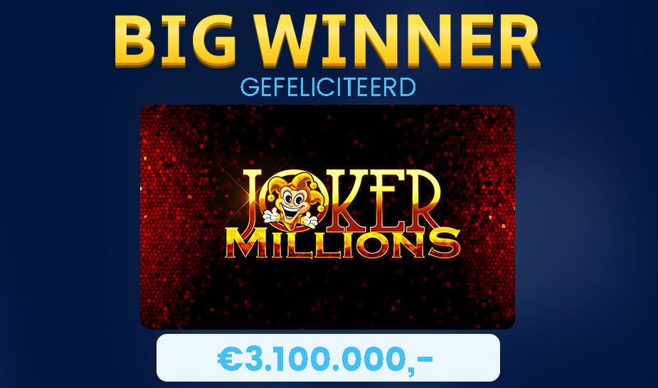 joker millions big win jackpot bedrag