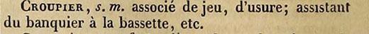 het woord croupier in boek van Boiste