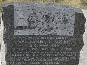 Gedenksteen in Bodie voor Bodey