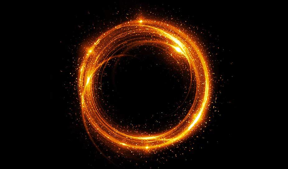halo oranje op zwarte achtergrond.