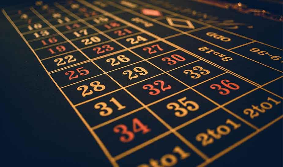 roulettetafel, nummers om op in te zetten in het casino